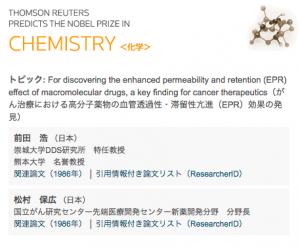 2016年ノーベル化学賞候補